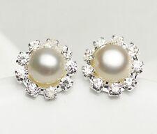 Sterling Silver 8-9mm Cultured Freshwater Pearl Flower Crystal Stud Earrings AB