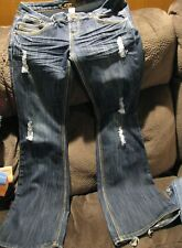 Almost Famous Womens Jeans Distressed Flare Size 7