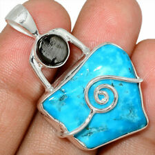 Spiral Sleeping Beauty Turquoise and Elite Shungite 925 Sterling Silver Pendant