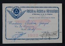 Carte de membre Georges BELIX 1932 AMICALE DES ANCIENS DE L'AERONAUTIQUE Caudron