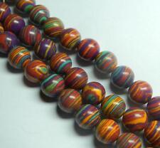 """New 8mm Purple Multicolor Turkey Turquoise Gemstone Round Loose Bead 15""""##HK1140"""