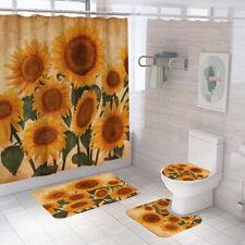 Sunflower Shower Curtain Bathroom Rug Set Bath Mat Non-Slip Toilet Lid Cover