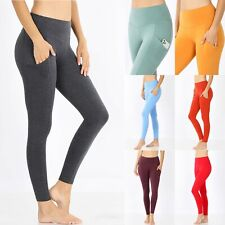 Fitness Leggings with Pockets Womens Cotton Yoga Pants Workout Gym High Waisted