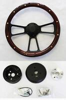 """Nova Chevelle El Camino Impala Steering Wheel Mahogany Wood & Black Spokes 14"""""""