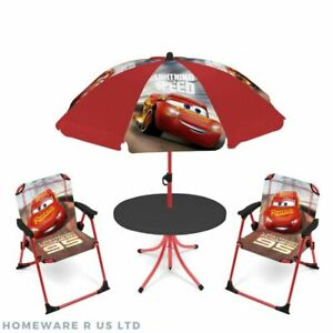 boys childrens kids cars garden patio table & chairs set parasol 2 chair 3+ red