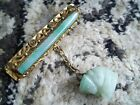 ULTIMATE ART DECO BAR PIN Chinese Export apple green jade jadeite carved monkey