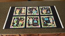 Blessed Panel Helz Cuppleditch Quilting Treasures Bright Floral Birdhouse Black