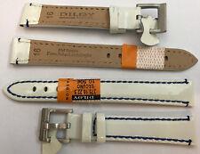 Reloj De Pulsera piel auténtica modisch-lack Blanco Con Azul COSIDO 16mm,