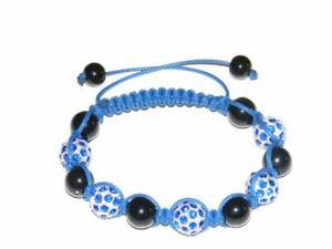Bracelet Style Shamballa Fantaisie Cordon Bleu Perle Strass bleu Réglable Mixte