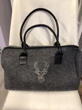Kensington Grey Fluffy Polyester Duffel Bag Weekend Bag Handbag.
