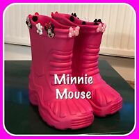 Kids Pink Wellies Shoes & Minnie Mouse Charms Kids Sizes 7 8 9 10 11 12 13 1 2 3