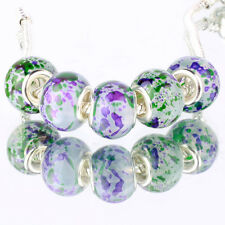 5pcs Green MURANO silver plated glass bead LAMPWORK fit European Charm Bracelet