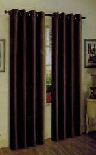 2 PIECE SOLID BROWN COFFEE  METAL GROMMETS FAUX SILK WINDOW CURTAIN PANELS DRAPE
