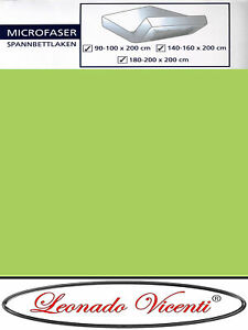 10 Stück Spannbettlaken Mikrofaser 140-160x200 cm Grün Bettlaken Spannbetttuch