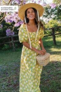 New! ROVE DESIGNS. Size S. VOYAGE Midi Dress marguerite floral linen RRP $168