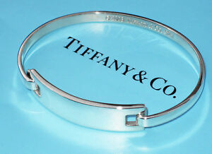 Tiffany & Co Sterling Silver Solid Bracelet ID Identity I.D.Clip Plate Bangle