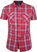 """New Mens Crosshatch Backoff Casual Shirt Red Label Size S (36-38""""Chest)"""