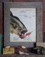 Vintage Fishing Lure Patent Print 11x14 Unframed Largemouth Bass Fish Wall Decor