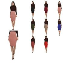 FashionOutfit Women's Fitted Solid Bubble Crepe High Waist Midi Pencil Skirt