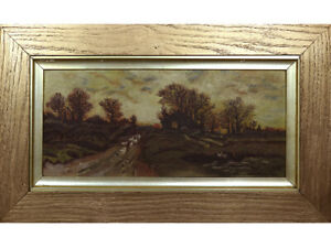 19th Century Oil Painting. Monogrammed AW. Country Lane Landscape