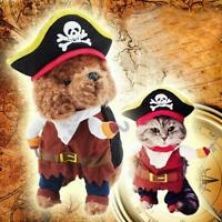 Pet Dog Cat Pirate Captain Clothes Cosplay Halloween Costume Outfit Apparel S-XL