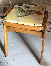 VINTAGE INDUSTRIAL VINTAGE STOOL WITH HAWAIIAN INSPIRED SEAT AND TEAK FRAME