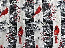 A Cardinal Christmas Birds & Birch Trees w/ Metallic Hoffman #6745 By the Yard