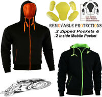 MENS BLACK FLEECE HOODIE REMOVABLE CE ARMOUR MOTORBIKE MOTORCYCLE JACKET