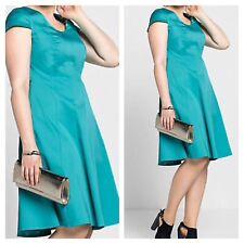 Sheego @ Curvissa Plus Size 20 Turquoise Panelled Knee DRESS Summer Evening £80