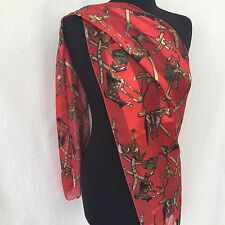 Horse and Saddle Scarf 56 x 13 Red