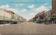 Santa Fe Avenue Looking North From Walnut Street in Salina KS Postcard