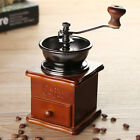 Retro Stainless Manual Coffee Bean Grinder Wooden Nut Mill Hand Grinding Tool