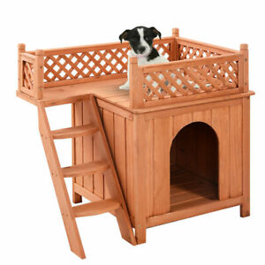 Outdoor Roof Balcony Bed Shelter & Wood Pet Dog House Wooden Puppy Room Indoor