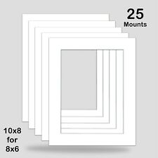 10x8 FOR 8x6 PHOTO MOUNT PACK OF 25 8x10 ICE BRIGHT WHITE COLOUR NEW ART PRINT