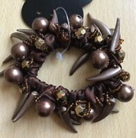 A Brown Satin And Beaded Scrunchie Ponytail Band / Bobble