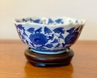 VINTAGE PORCELAIN CHINESE BLUE AND WHITE  BOWL HAND PAINTED 7 INS DIAMETER