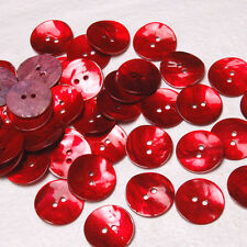 B646 Crimson Mother of Pearl Craft Sewing Art DIY Round Shell Buttons 20mm 30pcs