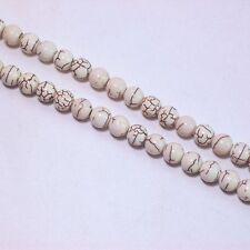 5 Fil Blanc Turquoise Howlite 8mm Ronde Perles