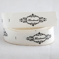 20 Printed Cotton Fabric Ribbon Sewing Labels - Handmade - Vintage Style