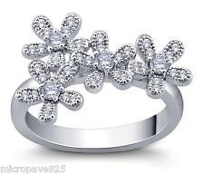 Top Beautiful Floral Sterling Silver Ring With Pave Set Cubic Zirconia Stones