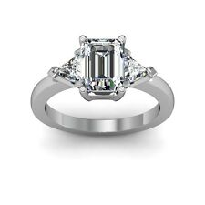 1.50 Ct Emerald Cut Diamond Engagement Ring Not Enhanced Size Selectable