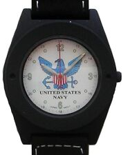 U.S. Navy Military Emblem Watch In Gun Metal Black Case With Compass On Strap