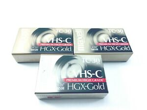 Maxell Camcorder Video Camera Cassettes VHS-C Tapes TC-30 HGX-Gold Lot of 3