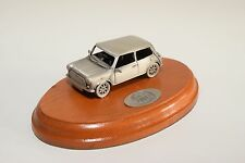 MINI COOPER SPECIAL EDITION PEWTER ON WOODEN PLINTH MINT CONDITION