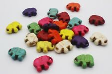 30 pce Colour Mix Synthetic Howlite Gemstone Elephant Beads 11mm x 14mm