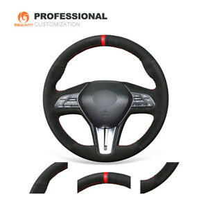 Black Real Suede Steering Wheel Cover for Infiniti Q50 QX50 2018 2019 Q60 G27