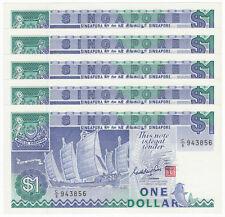 SINGAPORE 1 Dollar X 5 PCS, Ship, Sign Goh Keng Swee, 1987, P-18a, UNC