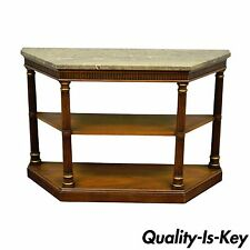 Vintage Drexel Heritage Italian MarbleTop Regency Empire Hall Console Sofa Table