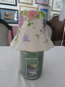 YANKEE CANDLE JAR SHADE TOPPER CERAMIC WHITE PURPLE LILAC FLOWERS BUTTERFLIES