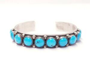 "Calvin Martinez, Bracelet, Kingman Turquoise, Revival, Navajo Handmade, 5-1/2"""